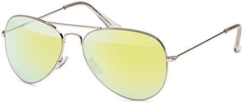MOKIES Unisex Sonnenbrillen - UV400 Filterkategorie 3 CE Kennzeichnung - Pilotenbrille Fliegerbrille - Polycarbonat - Edelstahl - 504 gelb