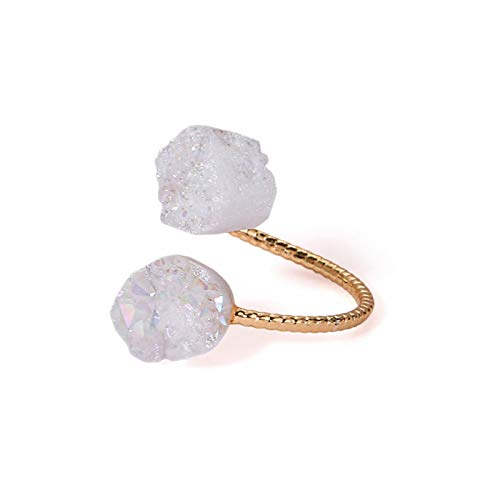 Daawqee Damen-Ring, Irregular Druzy Opal Rings Vintage Gold Wire Natural Stone Rings Adjustable Golden Wedding Engagement Rings for Women Opal White Resizable (Vintage Wedding Ring White Gold)