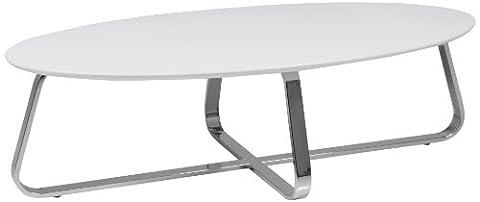 AC Design Furniture 47531 Couchtisch Viggo, weiß matt, Gestell Metall verchromt, ca. 120 x 35 x 60