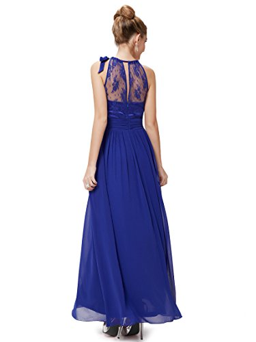 Ever Pretty Robe de cocktail longue Halter et le dos translucide en lace 08170 Bleu Saphir
