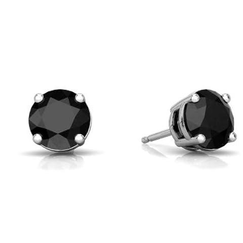 2 Ct Black Onyx Round Stud Earrings .925 Sterling Silver Rhodium Finish