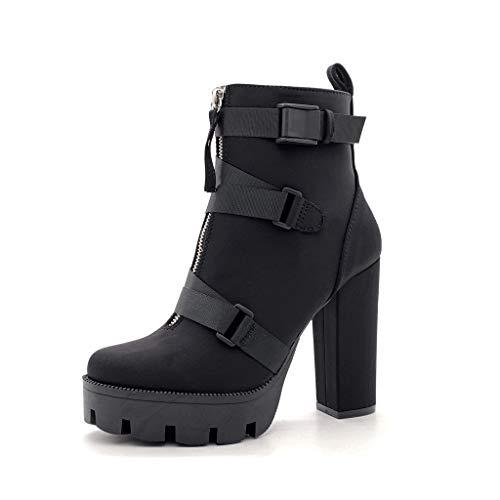Angkorly - Damen Schuhe Stiefeletten - Glam Rock - Schick - Sexy Blockabsatz high Heel 12 cm - Schwarz B9026 T 38