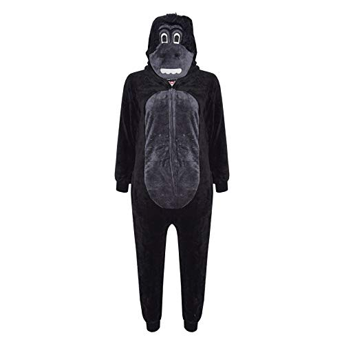 Jungen Kostüm Für High Monster - Unisex Kinder Kostüm flauschiger Overall Affe Gorilla Leopard Tarnmuster - Gorilla, 146-152