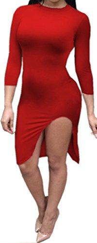 Femmes Sexy ras du cou à manches 3/4 Side de Split Clubwear Bodycon Midi Dress Rouge