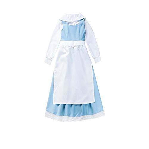 Belle Frauen Kostüm Disney - Zhiqing Frauen blau die schöne und das Biest Bell Kleid Anime Cosplay - Kleidung Halloween zimmermädchen Kleid (L)