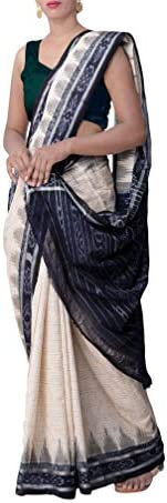 ODISHA HANDLOOM Women's Sambalpuri Cotton Saree Without Blouse Piece (cr bk jhr_Cream &