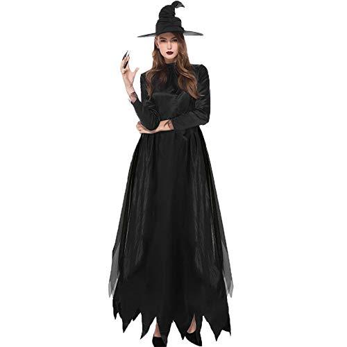 Kostüm Frauen Klassische Schneewittchen - Dicomi Frauen 2 Stück Halloween Magie Hexe Kleid Party Kostüm Cosplay Langes Kleid Retro Solide Langarm Kleid XL