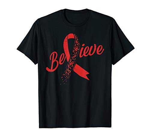 Believe Red Ribbon Brain Aneurysm Stroke Awareness Support T-Shirt (Stroke Awareness Ribbon)