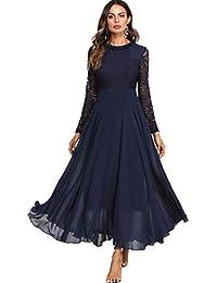Abendkleid dunkelblau langarm