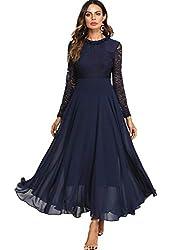 DIDK Damen Maxikleider Langarm Spitzen Plissee Brautjungfernkleid Kleider A Linie Kleid Stehkragen Ballonkleid Hoher Taille Marineblau L