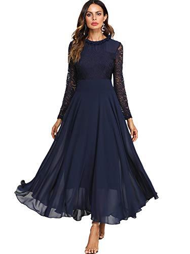 DIDK Damen Maxikleider Langarm Spitzen Plissee Brautjungfernkleid Kleider A Linie Kleid Stehkragen Ballonkleid Hoher Taille Marineblau M