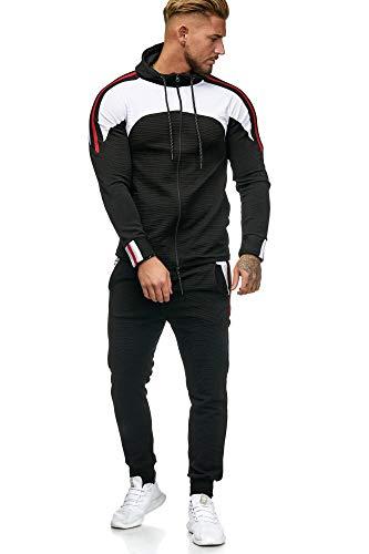OneRedox Herren Jogginganzug Sportanzug Modell 1148 (L (Fällt eine Nummer Kleiner aus), Schwarz)