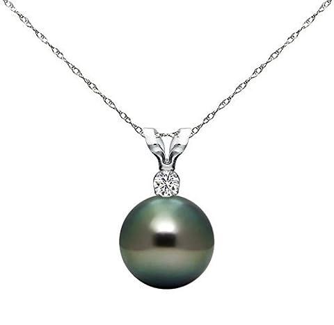 14k White Gold .05tcw Diamond 10-10.5mm Round Black Tahitian Cultured Pearl Pendant Necklace, 18 by La Regis Jewelry