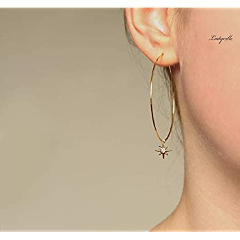 Stern Ohrringe – Creole Polarstern/Geschenk für Sie/besonderes Geschenk/Party Creolen/Statement Schmuck/Astrologie…
