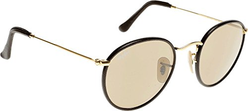 Ray-Ban Round Leather Sunglasses Arista Gold Brown RB3475Q 112 53 50 Brown Gradient