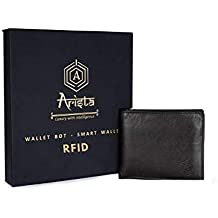 Arista Vault Men's RFID Blocking Comfortable Safety from Digital Theft Italian Leather Wallet (Black)