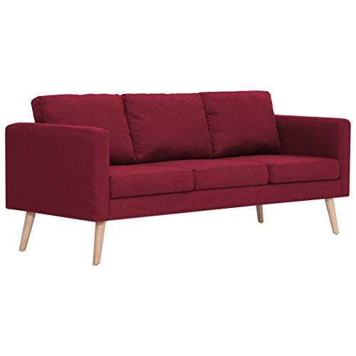 Vidaxl divano a 3 posti elegante comodo sofa triplo per casa per ufficio poltrona da tre persone arredo per salotto arredamento in tessuto rosso vino