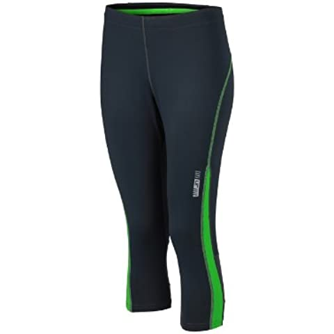 James & Nicholson Ladies Running 3/4 Tights - Pantalones premamá Mujer, Verde (Iron Grey/Green), XX-Large (Talla del fabricante: