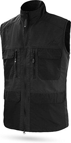 normani Herren Outdoor Sport Weste mit vielen Taschen für Freizeit, Angeln, Jagd oder Safari Tour [XS-5XL] Farbe Schwarz Größe 5XL