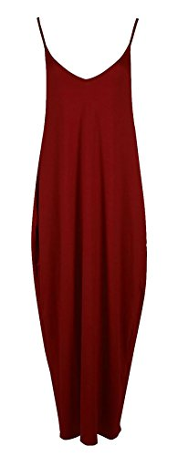Islander Fashions Damen Camisole Strampler Maxikleid Damen Italienisch Lagenlook Cami Drape Baggy Kleid Wein S / M EU 36-38 (Cami Drape)