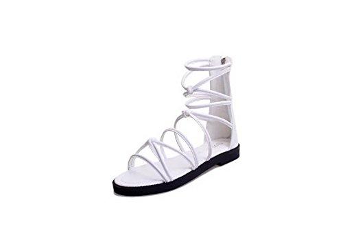 AgooLar Femme Zip Non Talon Pu Cuir Couleur Unie Sandales à Plat Blanc