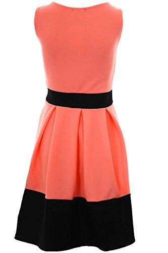 Sapphire Boutique Damen Kleid Blockstreifen Saum Kontrastschleife um Hüfte Ärmellos Faltenrock Skaterkleid Koralle / Schwarz
