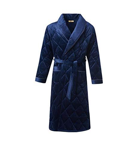 FGSJEJ Dicker Korallen Vliesrobe Männer bequem nach Hause Service-Revers, Lace-up, Einfarbig, Roben Pyjamas (Color : Blue, Size : L)