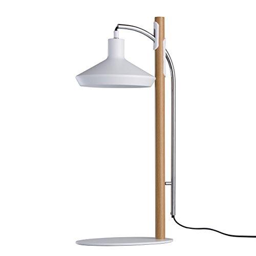MW-Light 408031901 Lampe de Table LED Style Moderne en Métal Blanc Déco en Bois pour Chambre Bureau Eclairage Zonal 1x5W LED incl.