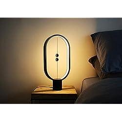 Lampe LED Heng - Idéale pour le salon ou la chambre - Port USB - Lumière blanche chaude, Noir 5.00W