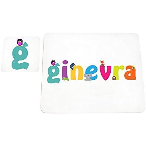 Little Helper LHV-Ginebra-COASTERANDPLACEMAT-15IT posavasos y manteles individuales con acabado brillante personalizados niñas nombre Ginebra, multicolor, 21 x 30 x 2 cm