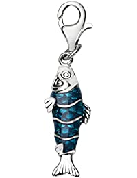 Quiges Charm Colgante de Plata de Ley 925 3D Pez con Esmalte Azul y Cierre Pinza de Langosta