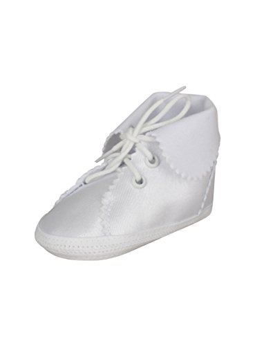 Boutique-Magique Chaussons de Baptême Bébé Blanc Satin Revers Mat