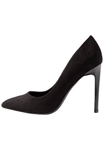 Even&Odd Elegante High Heel Damenpumps - Schwarze Pumps in hochwertiger Velourleder-Optik, Größe 42