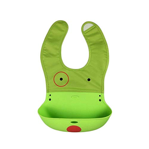 Insense Cartoon Stain-Resistant Silicone Baby Toddlers Bib Cute Roll-Up Snaps Crumb Catcher for Infant Kids, Keep Stains Off, Baby Gift Silicone (Green) Baby Infant Toddler Bib