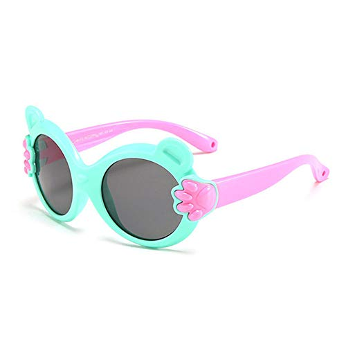 Wang-RX Katzenauge Kindersonnenbrille Polarisierte Kindersonnenbrille Mädchen Junge Karton Bärchen Brille Flexible Brille Uv400 18colors