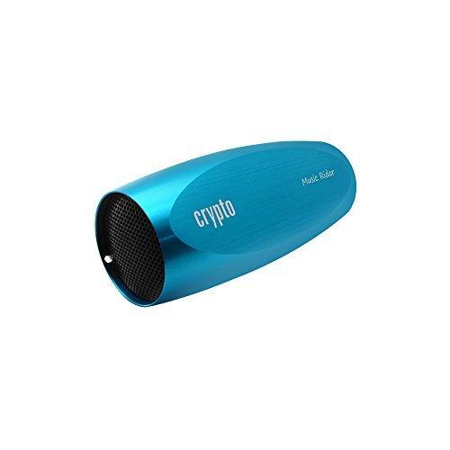 Crypto Musik Rider Aluminium MP3Player mit integriertem Lautsprecher, Micro SD Karten Slot und Fahrrad Mount–Blau
