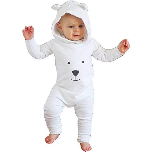 Baby Bodysuit Strampler Strampleranzug Overall, TTLOVE Mädchen Jungen Fleece Hoodie Jumpsuit BäR Säugling Spielanzug Mit Kapuze Overalls Kleidung(Weiß,80 cm) -