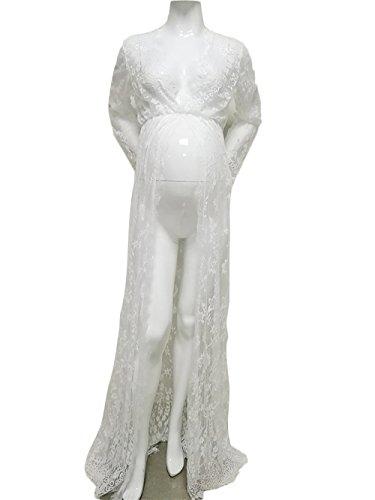 Hopeverl abiti da sposa in pizzo di merletto di maternità props props vestito a maniche lunghe maxi abito costume da bagno bikini coprire in su (bianca)