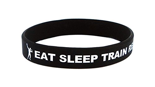 Fitness und Bodybuilding Armband Eat Sleep Train Repeat Schwarz Training Workout Sport Fitness Gym Lifestyle CrossFit Zubehör Accessoire Silikon Gummi Band Sportarmband Unisex Neu Schwarz Sport Gym Armband