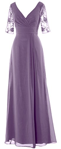 MACloth Women Half Sleeves Long Mother of the Bride Dress V Neck Formal Gown Wisteria