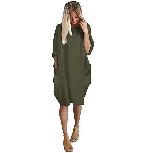 KIMODO Damen Kleid Lang Herbst Rundhalsausschnitt Lässige Tasche Oversize Kleider (Armeegrün, M)