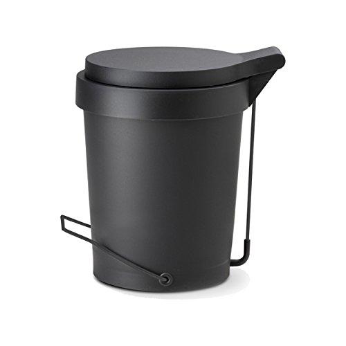 Authentics Tip Poubelle à pédale 7 l, Poubelle des déchets, Poubelle, Plastique, Noir, 1086799