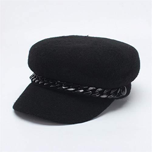 LXMDCAPA Hut Frauen Baumwolle Newsboy Caps Mode Schwarz Einfarbig Achteckige Hüte Mit Ketten Weibliche Barette, Schwarz, -