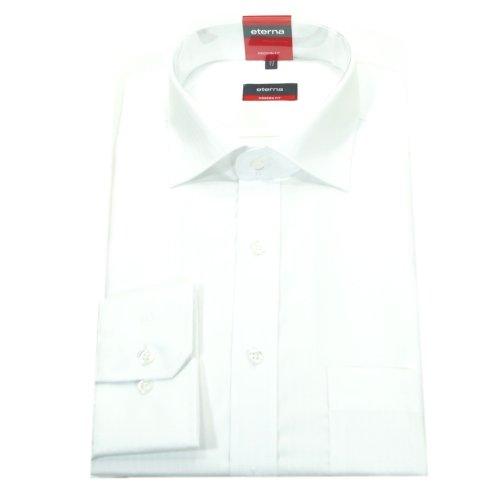 eterna Herren Modern Fit Uni Popeline Langarmhemd weiss Gr. 43