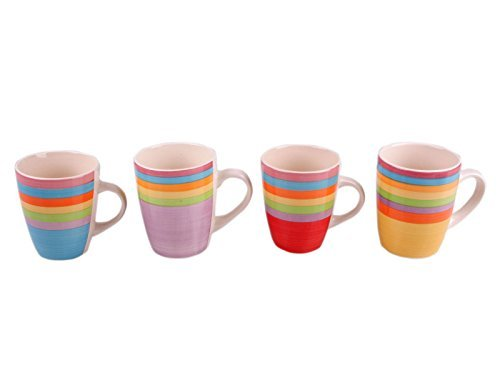 DRULINE Kombiservice Geschirrset Tafel-Service Porzellan Geschirr Set Tasse Teller BUNT Kaffeebecher 4er-Set (1 x jede Farbe)