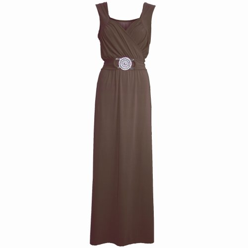 Pure Fashion Damen Maxikleid Ärmellos Mehrfarbig Wine - Plus Sizes Maxi Long Dress Top