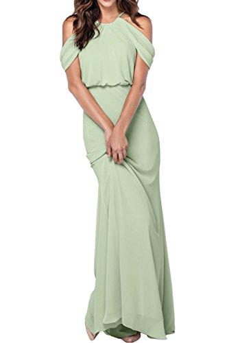 Missdressy Klassisch A-Linie Lang Traeger Chiffon Abendkleider Partykleider Brautmutterkleider Mintgruen