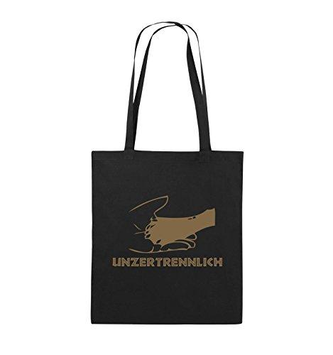 Comedy Bags - UNZERTRENNLICH - HAND PFOTE Hundeliebe - Jutebeutel - lange Henkel - 38x42cm - Farbe: Schwarz / Silber Schwarz / Hellbraun