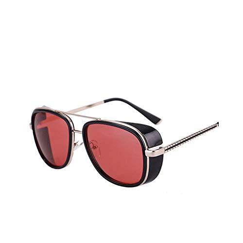 FGRYGF-eyewear Sport-Sonnenbrillen, Vintage Sonnenbrillen, Oculos Masculino Gafas De Iron Man Windproof Sunglasses Zonnebril Mannen Tony Stark Cosplay Sun Glasses Robert Downey JR Goggles Black-Red