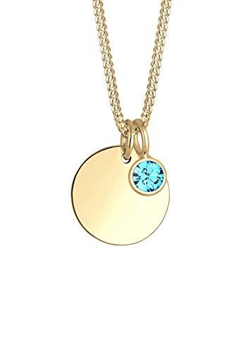 Elli Damen Echtschmuck Halskette Kette Geburtsstein März mit Swarovski Kristallen in 925 Sterling Silber 45 cm Länge